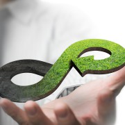Green circular economy concept. Hand showing arrow infinity symbol with grass texture.